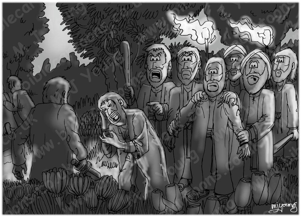 Mark 14 - Jesus Arrested - Scene 02 - Arrested - GREYSCALE