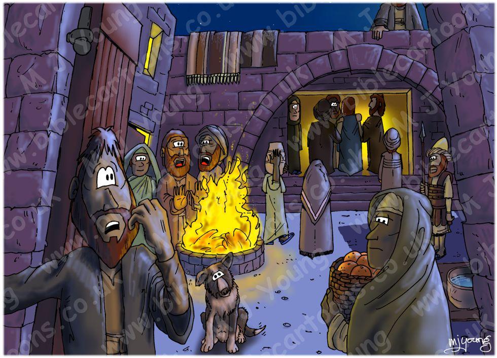 Mark 14 - Trial of Jesus - Scene 01 - In the high priest's courtyard