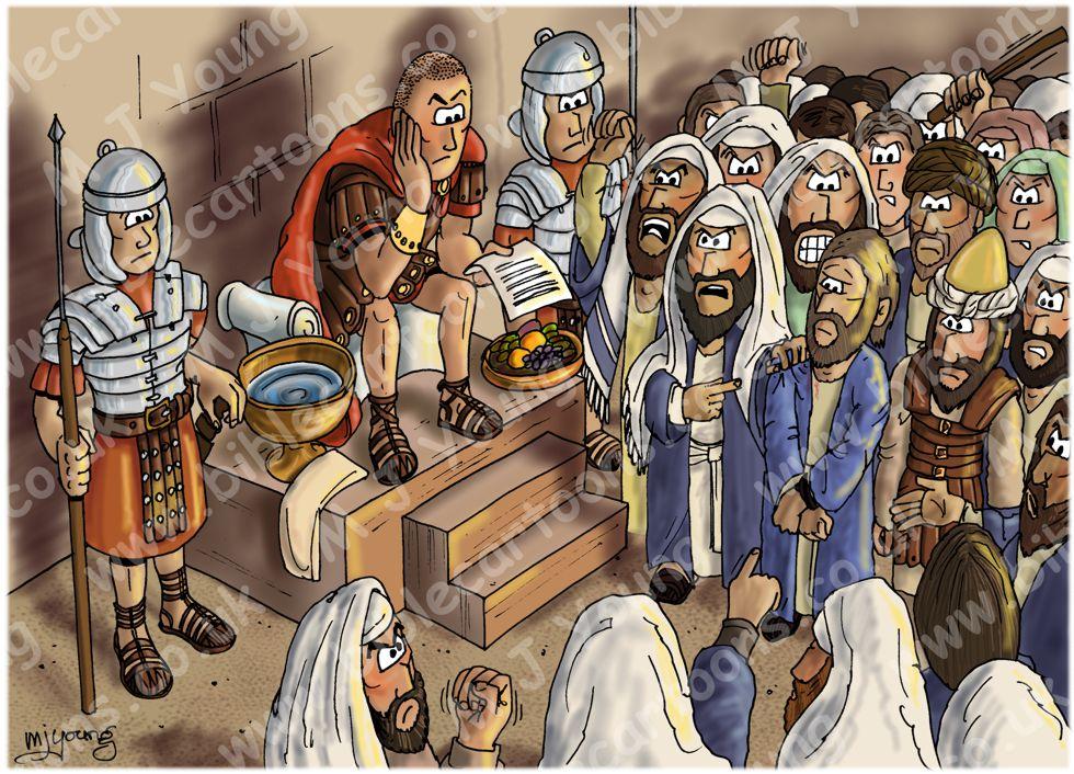 Bible Cartoons Mark 15 Trial Of Jesus Scene 05