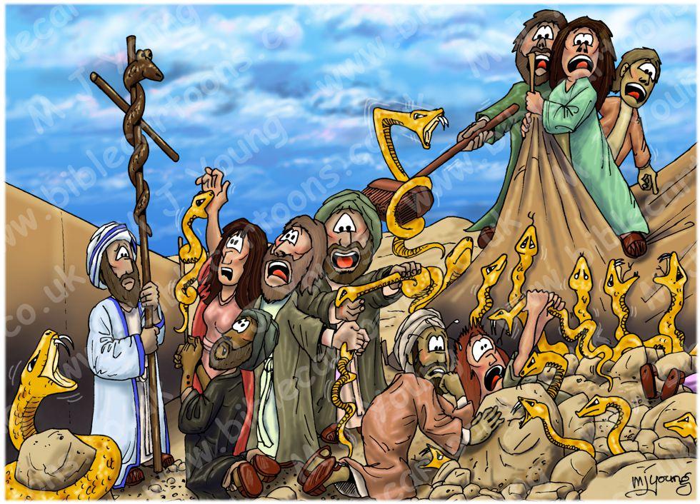 Bible Cartoons: Numbers 21 - Bronze snake - Scene 04 - Snake on a pole (Version 01)