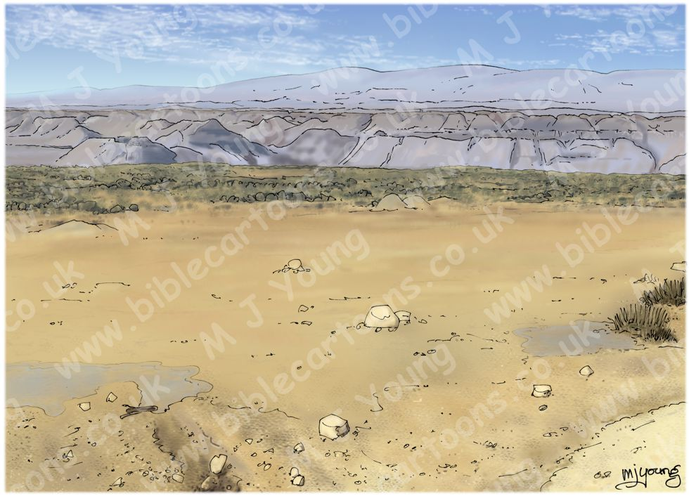 Joshua 03 - Jordan crossing - Scene 05 - River crossing - Landscape