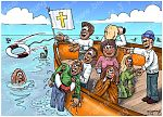 Cruise ship or rescue boat 03 - Church Rescue Boat metaphor 980x706px col