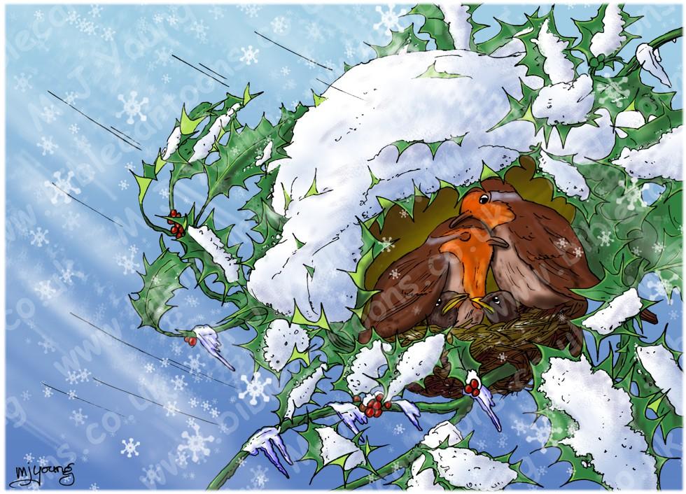Isaiah 25 - Birds in snow storm