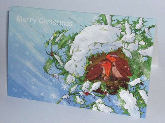 Christmas card: Isaiah 25 - Birds in snow storm