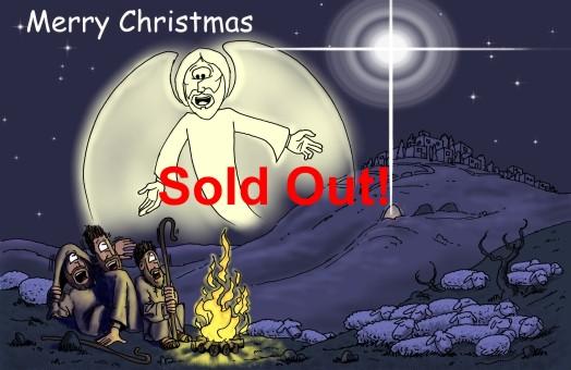 Christmas card - Angel & Shepherds