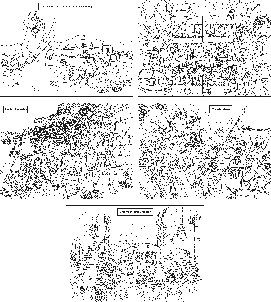 Joshua & the fall of Jericho - b/w colouring sheet