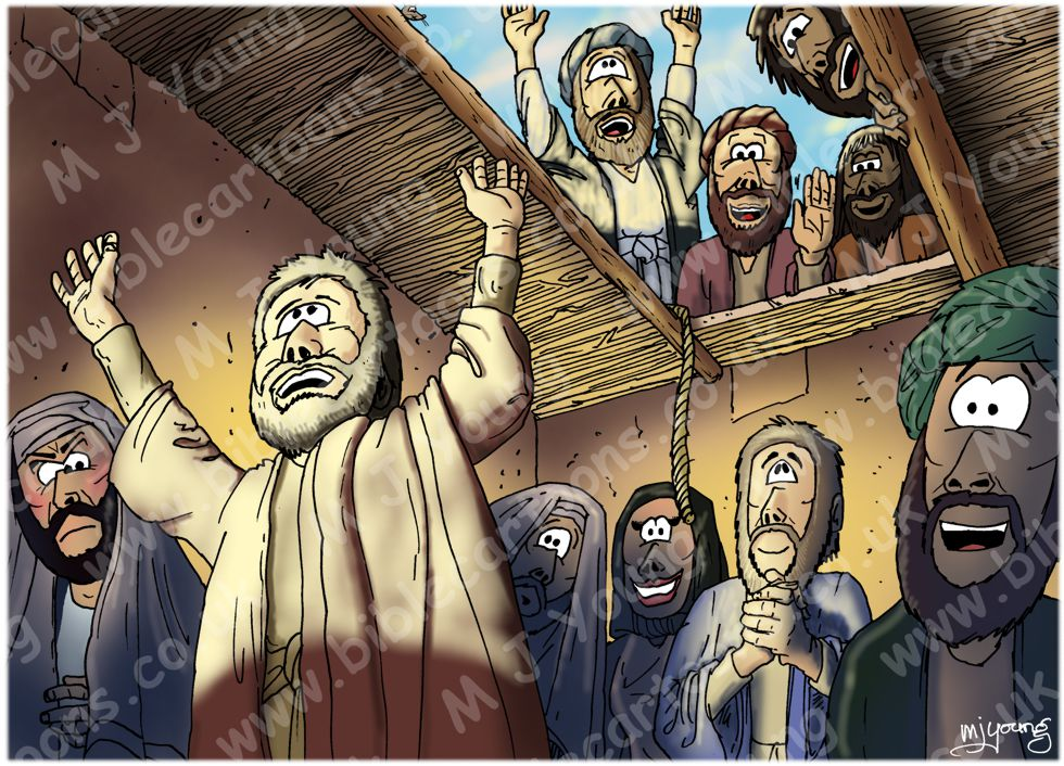Bible Cartoons Mark 02 Jesus Heals A Paralytic Man