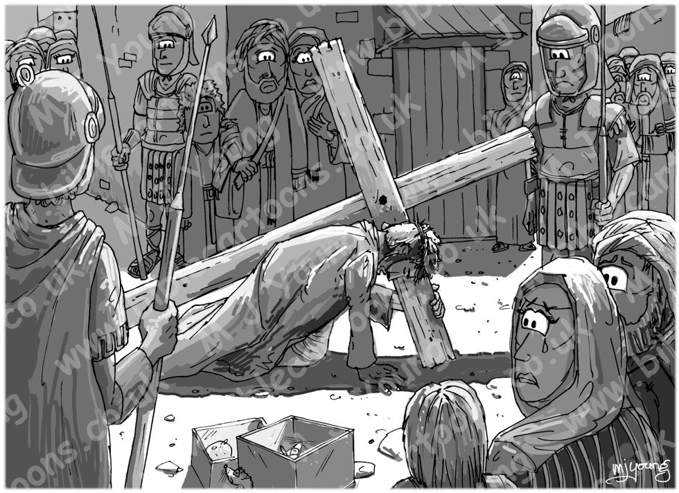 Mark 15 - The Crucifixion - Scene 04 - Led away - GREYSCALE