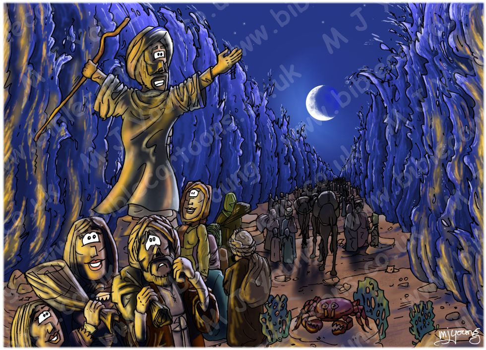 Exodus 14 - Parting of the Red Sea - Scene 10 - Walking through (version 02)