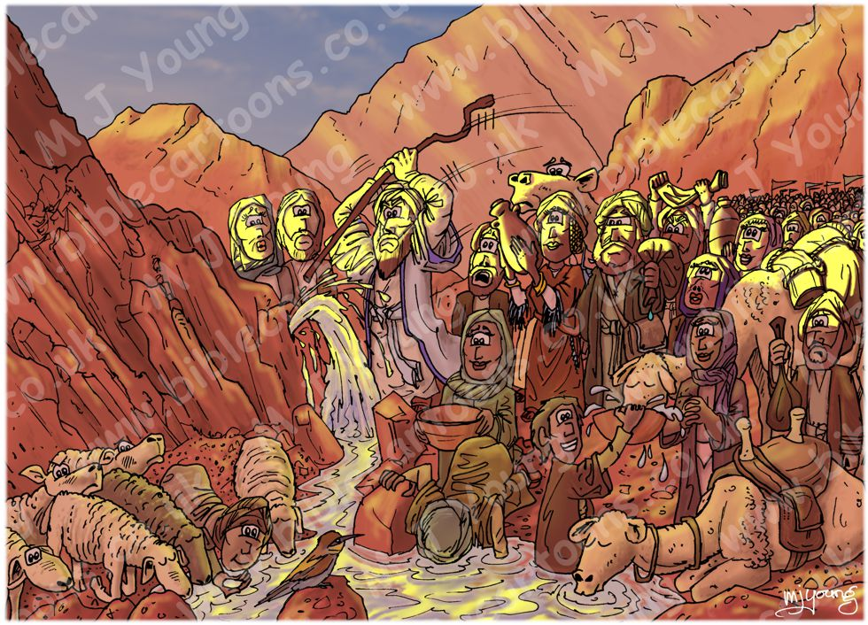 Exodus 17 - Water from rock - Scene 04 - Striking the rock 02