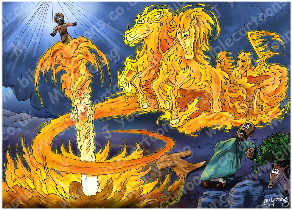 2 Kings 02 - Elijah taken into heaven - Scene 06 - Chariot of fire