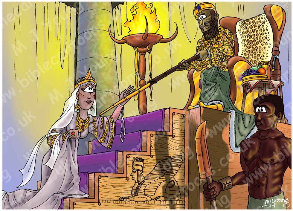 Esther 05 - Esther's banquet - Scene 01 - Xerxes receives Esther