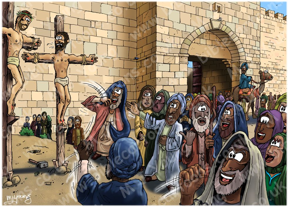 Mark 15 - The Crucifixion - Scene 06 - Scoffing crowd