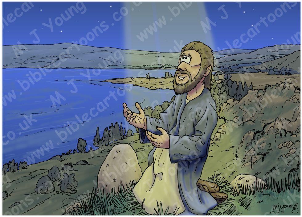 Matthew 14 - Jesus walks on water - Scene 01 - Praying alone (Light beam version)