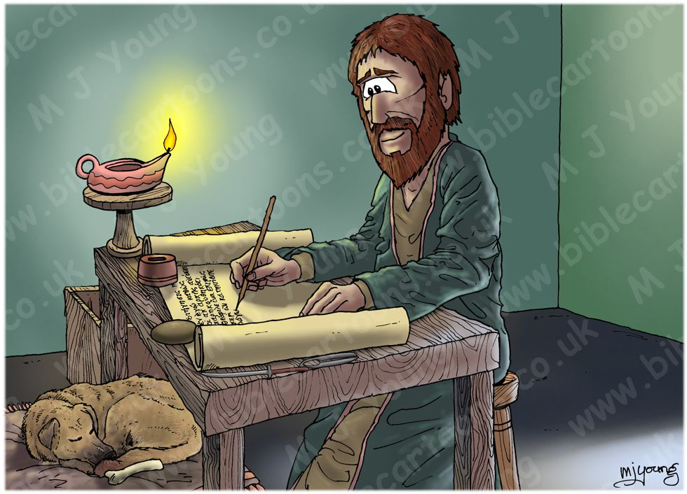 Luke 01 - Births foretold - Scene 01 - Luke writing