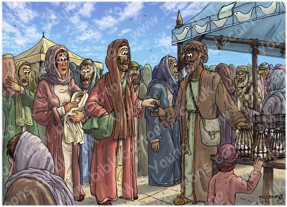 Luke 02 - Prophecies about Jesus - Scene 02 - Buying sacrifice 980x706px col