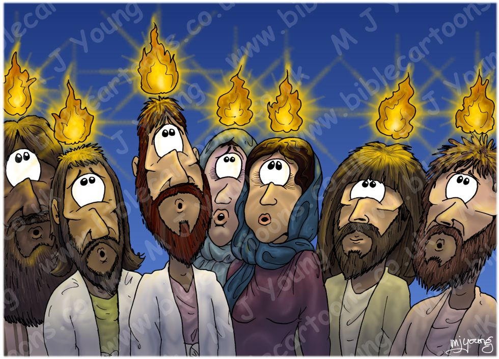 Bible Cartoons Acts 02 Pentecost Scene 04 Fire