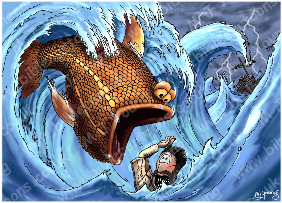 Bible cartoons jonah 01 scene 05 big fish blue version for Fish in the bible