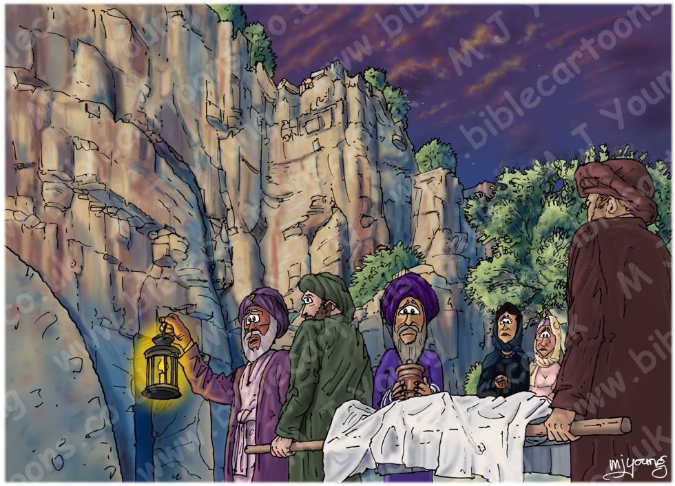 Mark 15 - Burial of Jesus - Scene 03 - Into the tomb (Colour version)