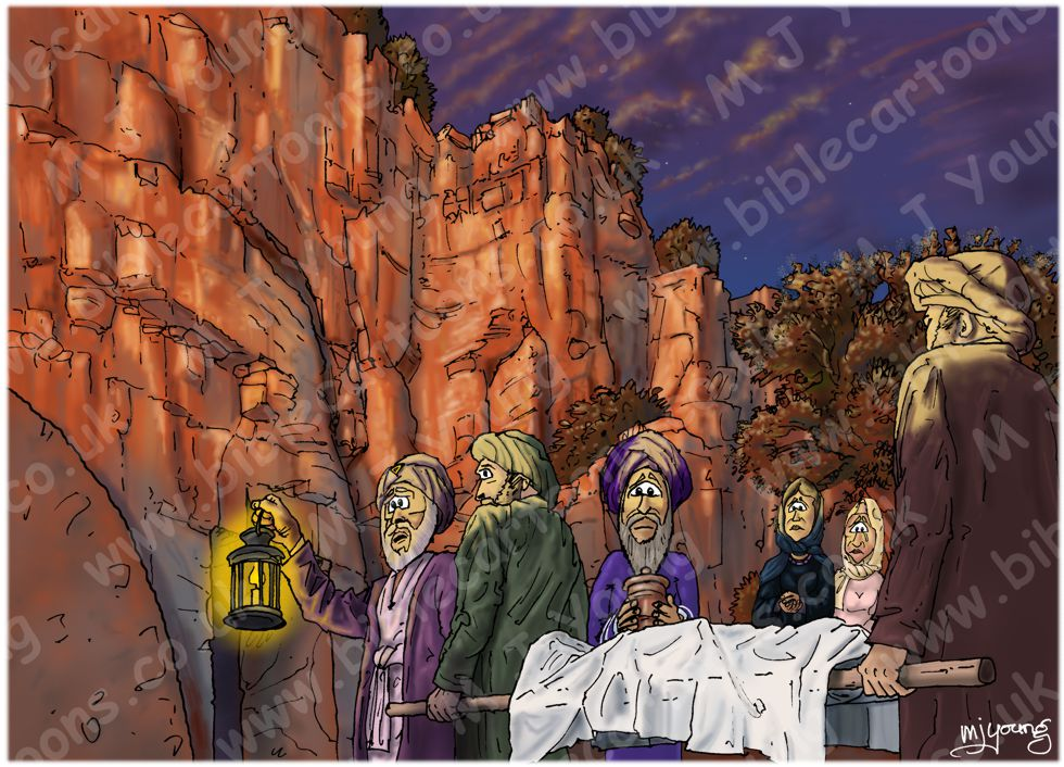 Mark 15 - Burial of Jesus - Scene 03 - Into the tomb (Sunset version)