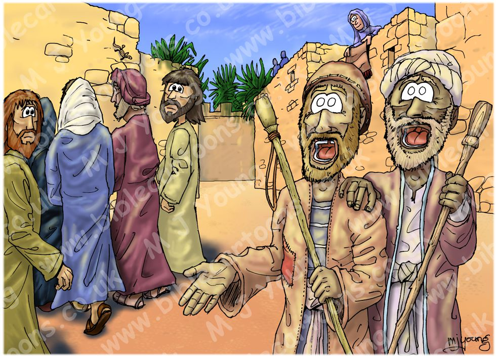 Matthew 09 - Jesus heals by faith - Scene 06 - 2 blind men