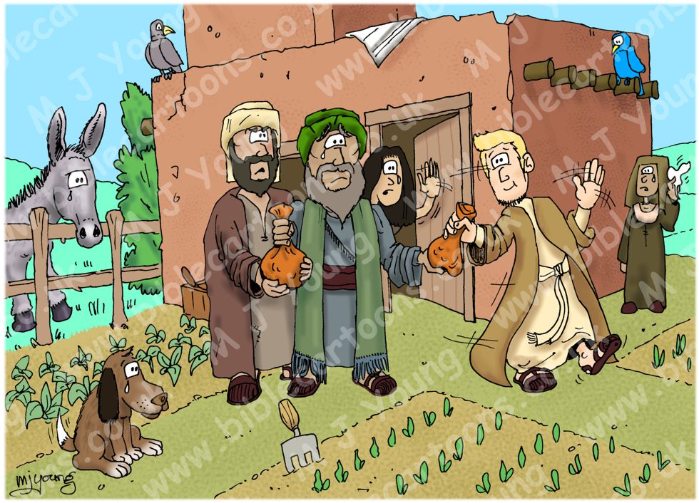 Bible Cartoons Luke 15 Parable Of The Prodigal Son Scene 01 Young Son Leaves