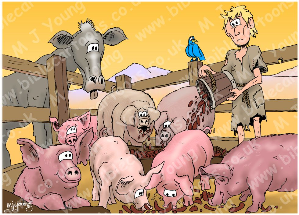 Luke 15 - Parable of the prodigal son - Scene 03 - With the pigs