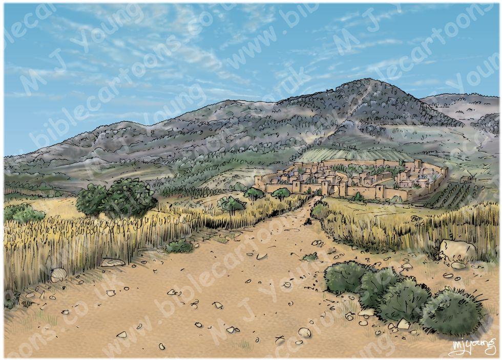 Luke 07 - Jesus raises a widow's son - Scene 01 - Approaching Nain LIGHTER Landscape
