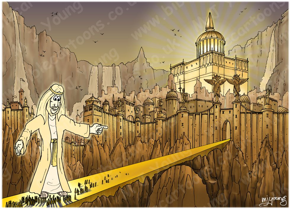 Revelation 21 - New Jerusalem - Scene 06 - City & gates  (Gold sky) 980x706px col.jpg