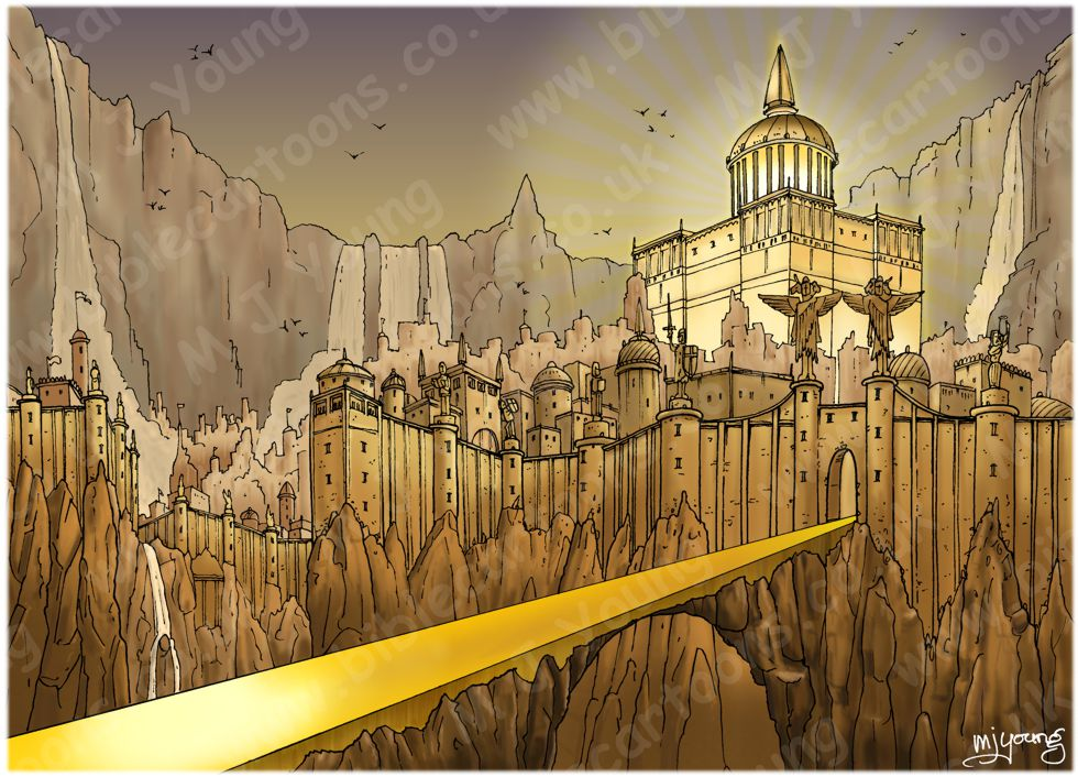 Revelation 21 - New Jerusalem - Scene 06 - City & gates  (Gold sky) - Landscape 980x706px col.jpg