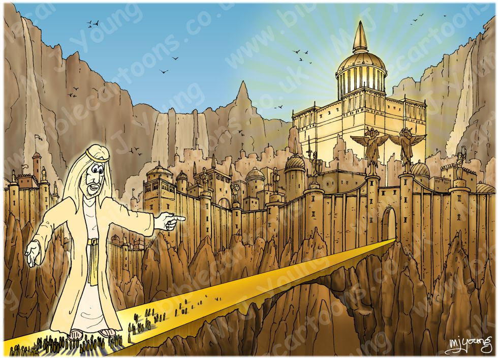 Revelation 21 - New Jerusalem - Scene 06 - City & gates (Blue sky)