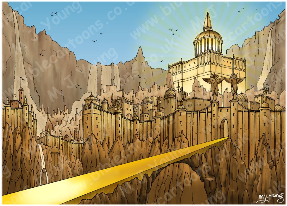 Revelation 21 - New Jerusalem - Scene 06 - City & gates  (Blue sky) - Landscape 980x706px col.jpg