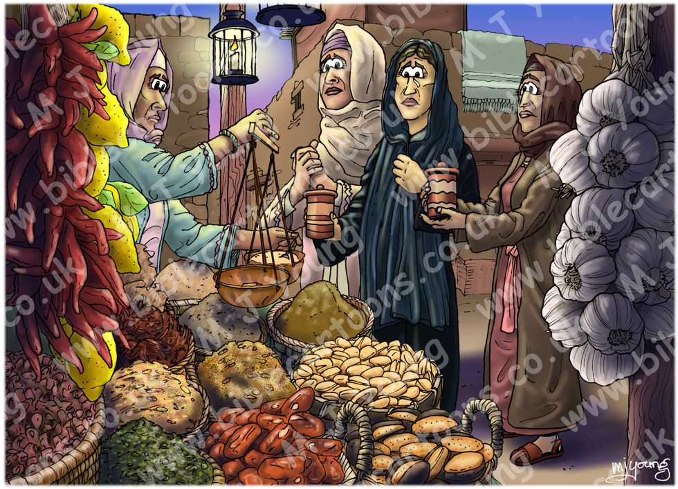 Mark 16 - Resurrection of Jesus - Scene 01 - Buying spices (Colour version)