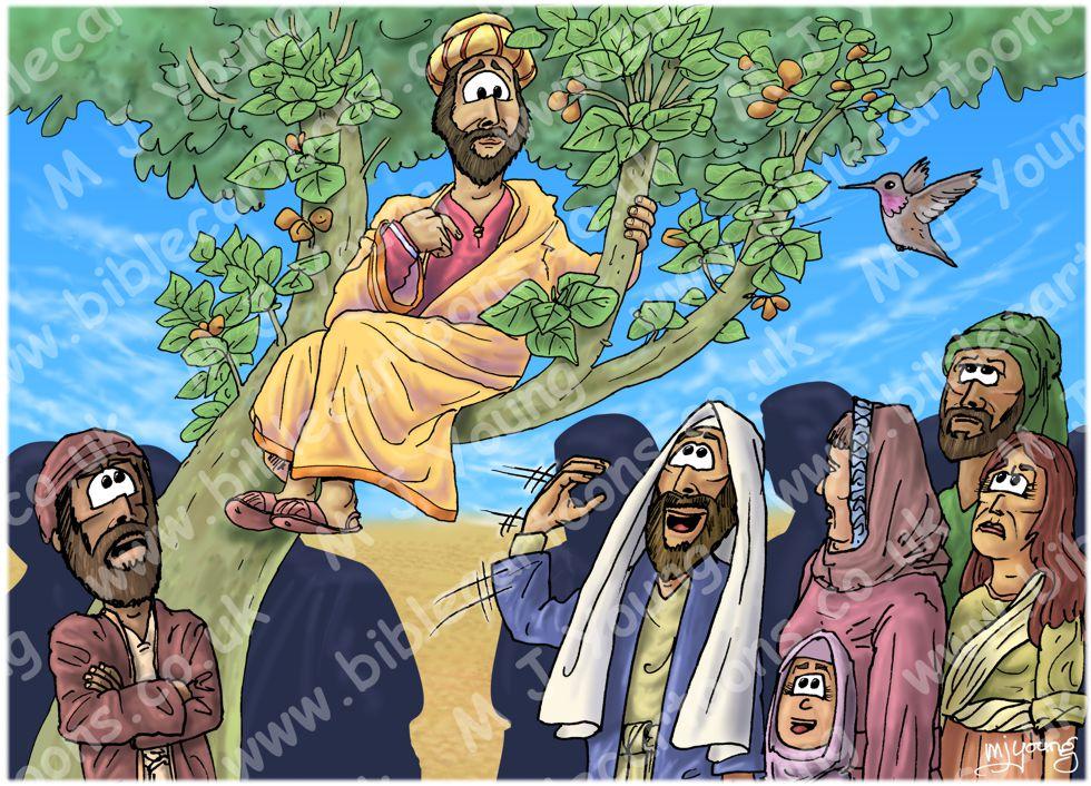 Luke 19 - Zacchaeus the tax collector - Scene 04 - Jesus calls 980x706px col