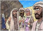 Luke 19 - Zacchaeus the tax collector - Scene 06 - Grumblers (Colour version) 980x706px col