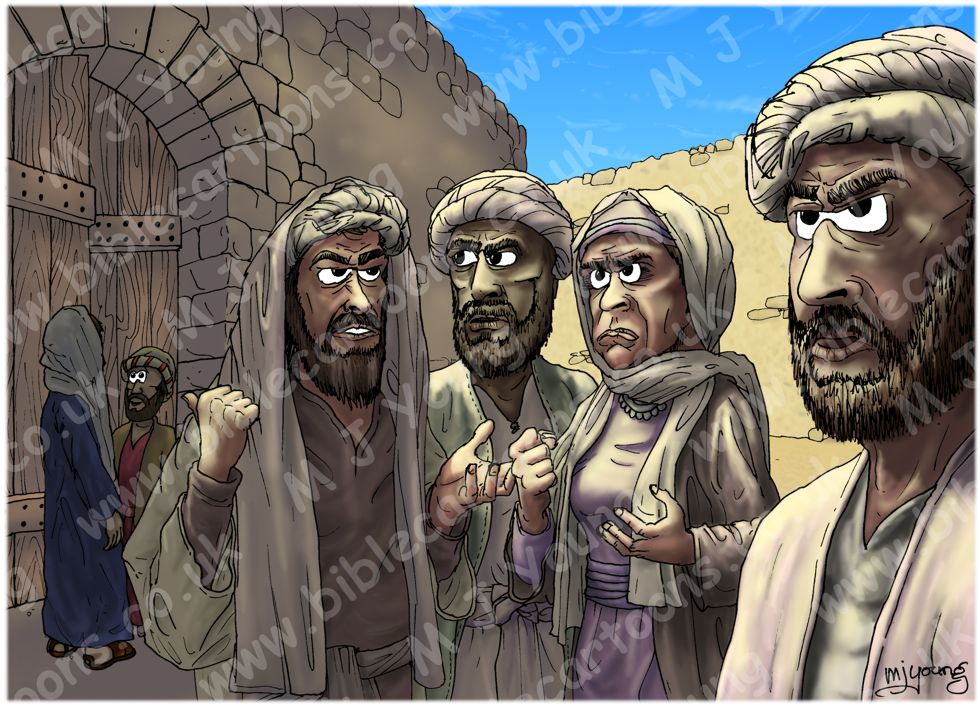 Luke 19 - Zacchaeus the tax collector - Scene 06 - Grumblers (Sunlight version) 980x706px col