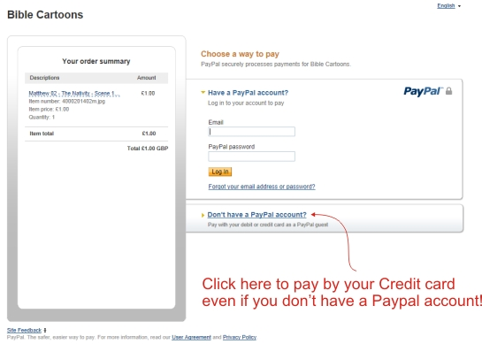 Credit card payment without Paypal account