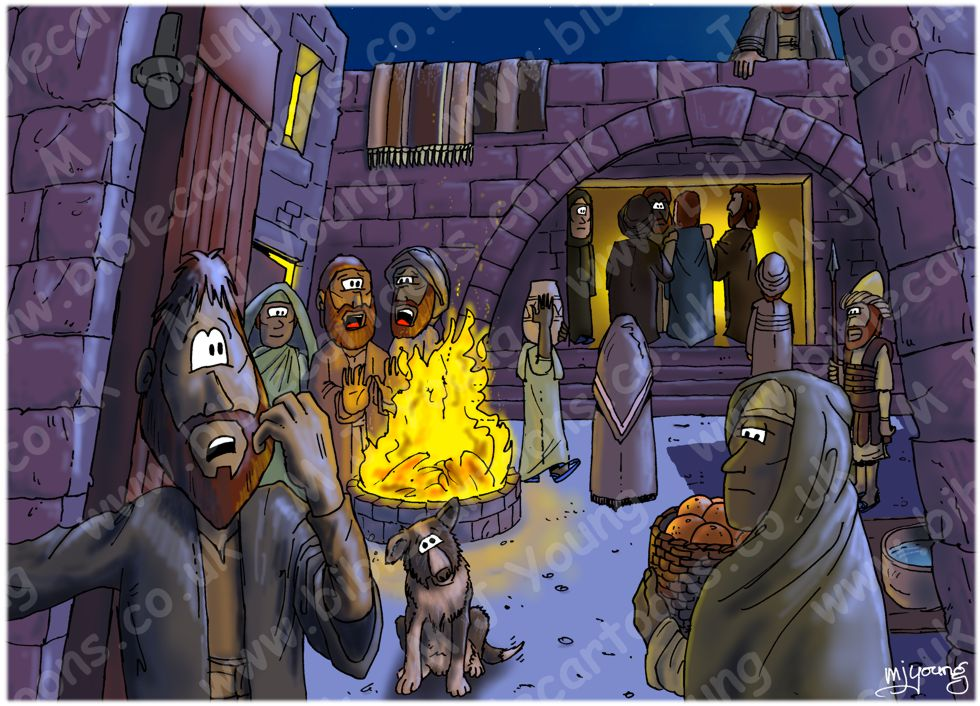 Mark 14 - Trial of Jesus - Scene 01 - In the high priest's courtyard