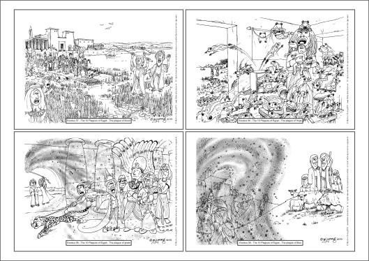 Exodus - 10 Plagues A4 colouring book sheet 01