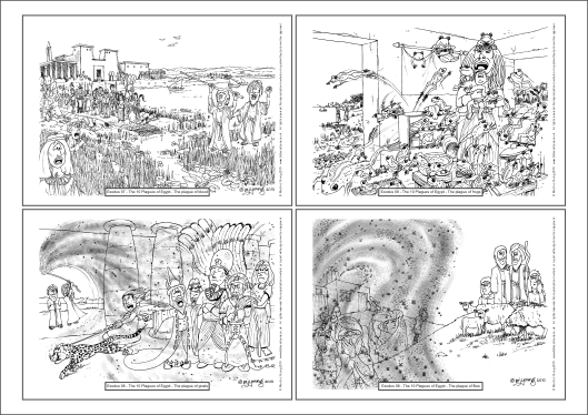 Exodus - 10 Plagues A4 colouring book sheet 01