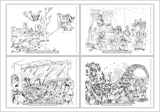 Exodus - 10 Plagues A4 colouring book sheet 02