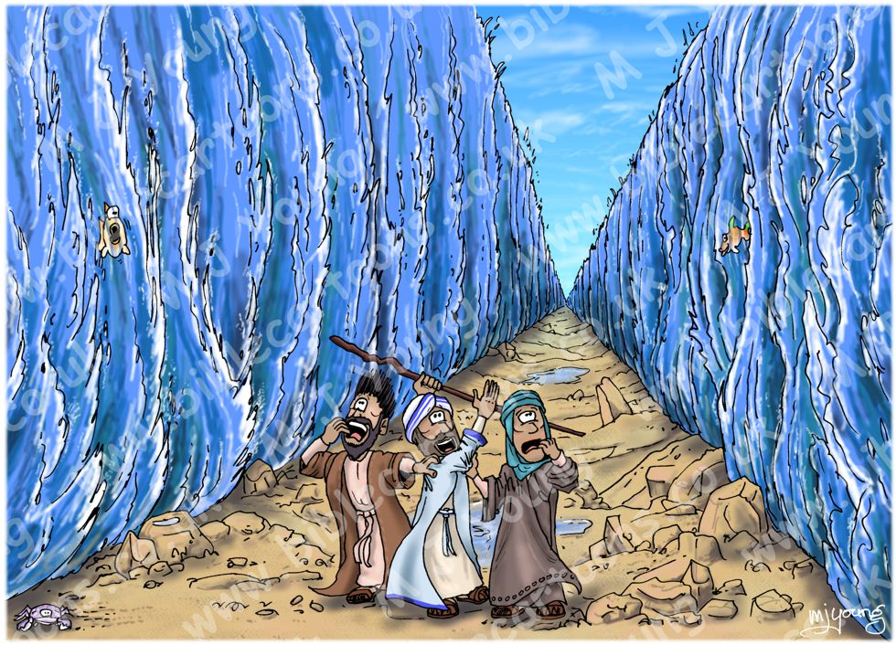 Exodus 14 - Parting of the Red Sea - Scene 10 - Walking through (version 01)