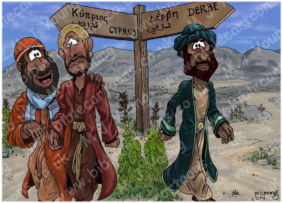 Acts 15 - 03 Paul & Barnabas separate - Scene 01 - Signpost