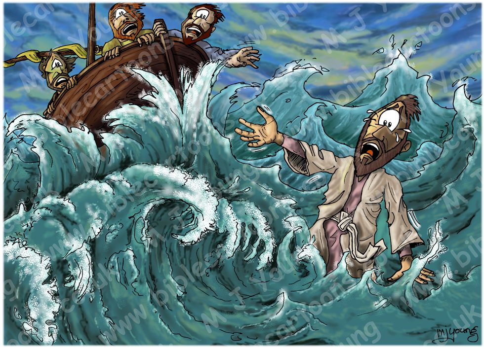 Matthew 14 - Jesus walks on water - Scene 04 - Sinking