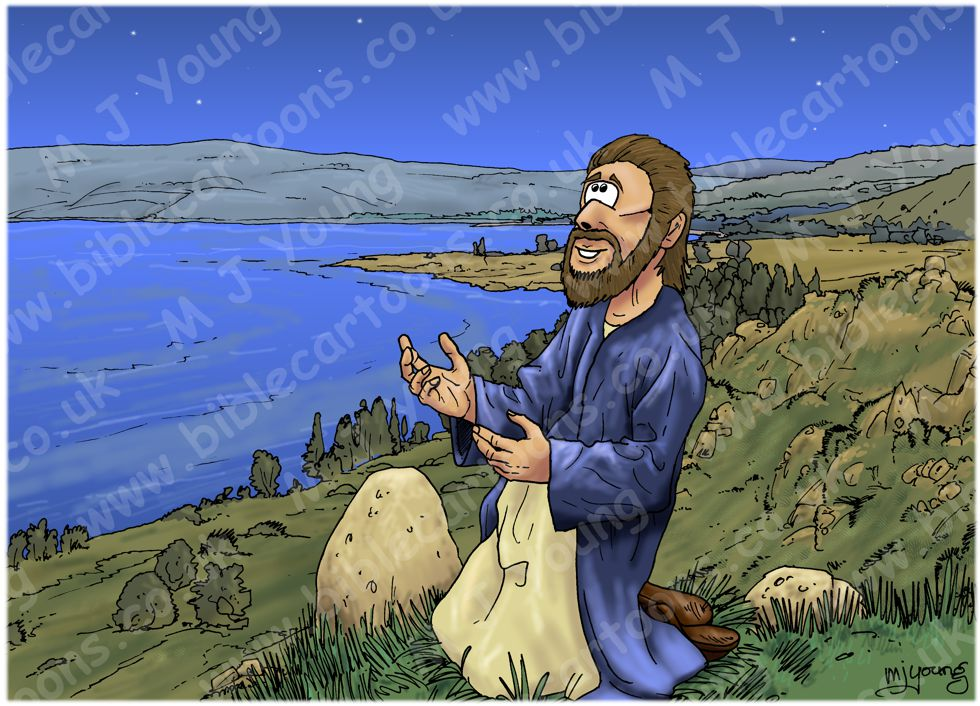 Matthew 14 - Jesus walks on water - Scene 01 - Praying alone (Colour version)